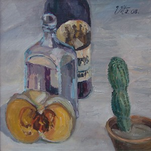 Still Life with Pumpkin and Cactus